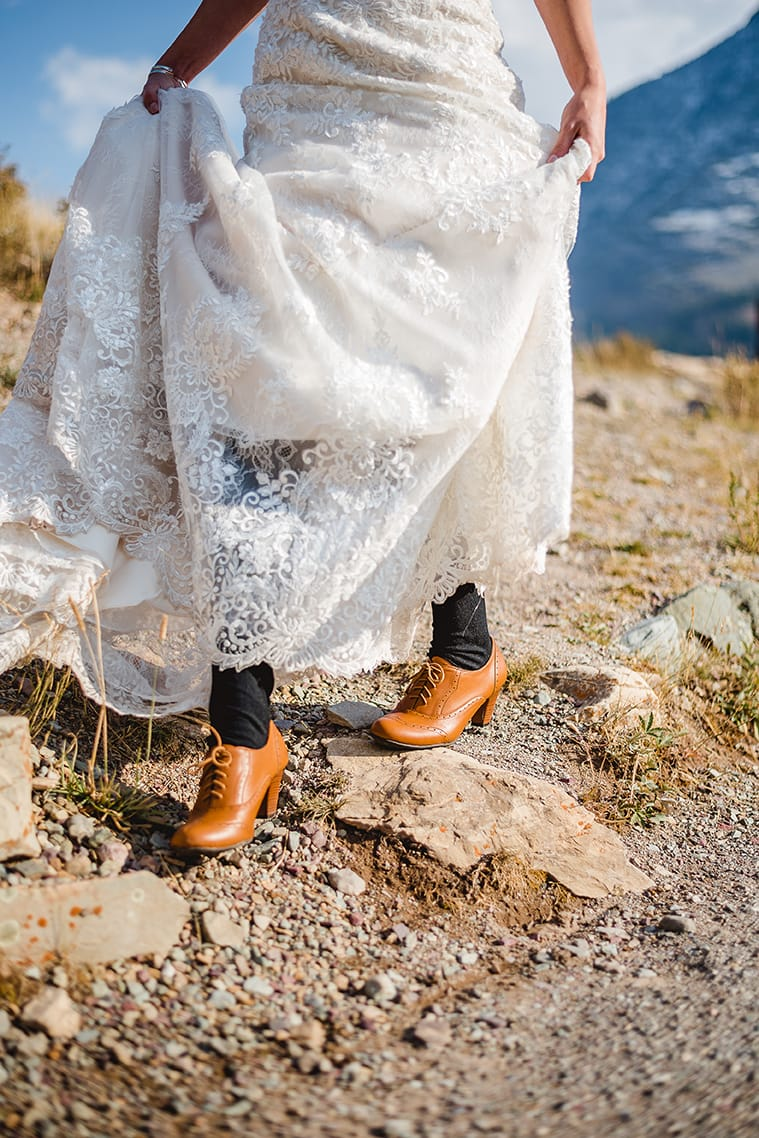 Fixing to Elope? You'll Love This Sweet Ceremony at Glacier National Park - Maggie Sottero Bride Wearing Tabrett