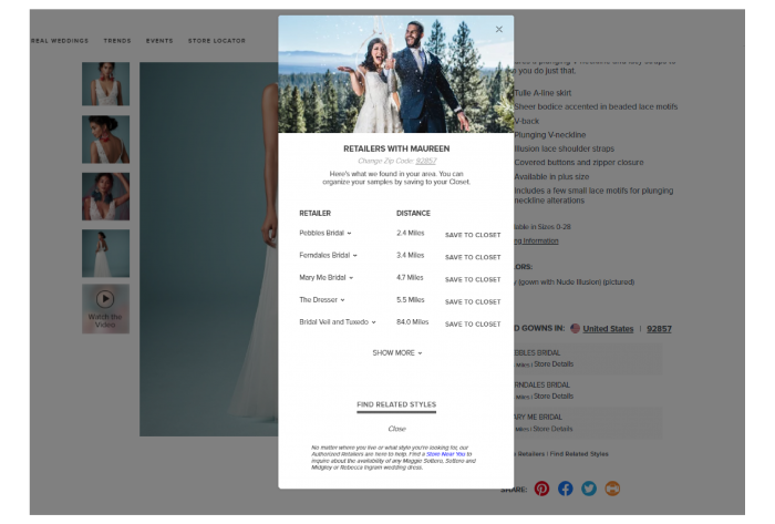 Screen Shot of Pop Up of More Maggie Sottero Retailers Nearby