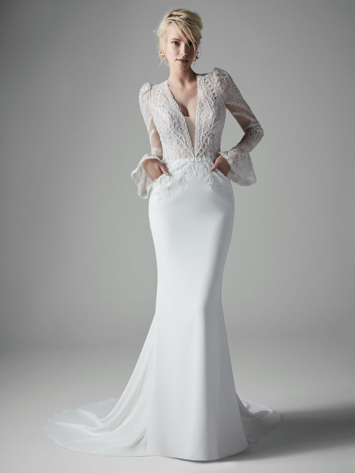 Bell Sleeve Sheath Wedding Gown called Burton by Sottero and Midgley