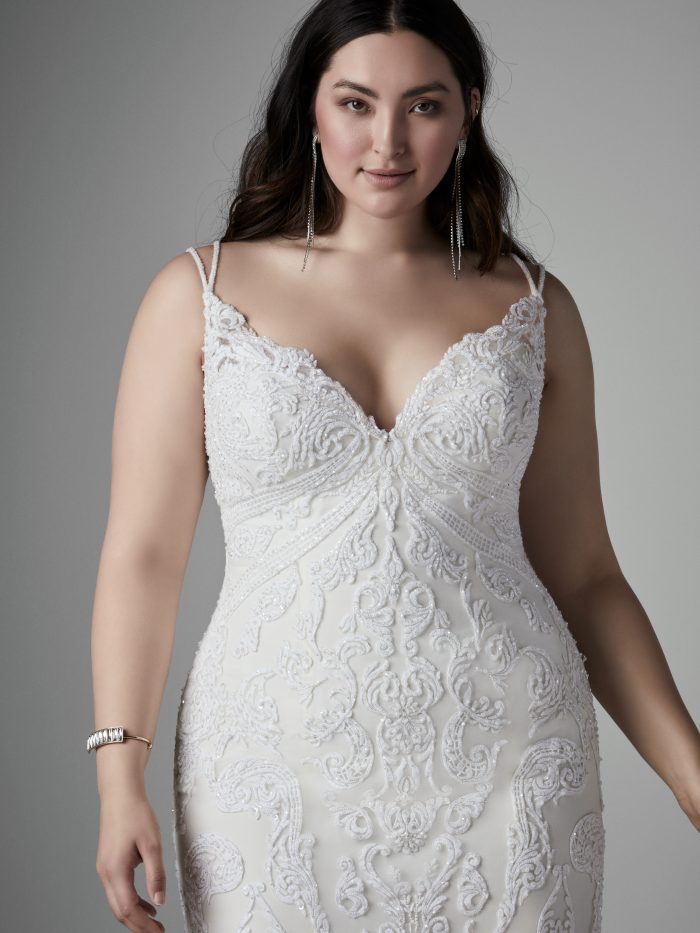 Plus Size Lace Sheath Wedding Gown Called Devon by Sottero and Midgley