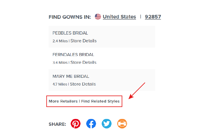 "Screen Shot of Red Arrow Pointing to ""Browse Related Styles"" on a Web Page"