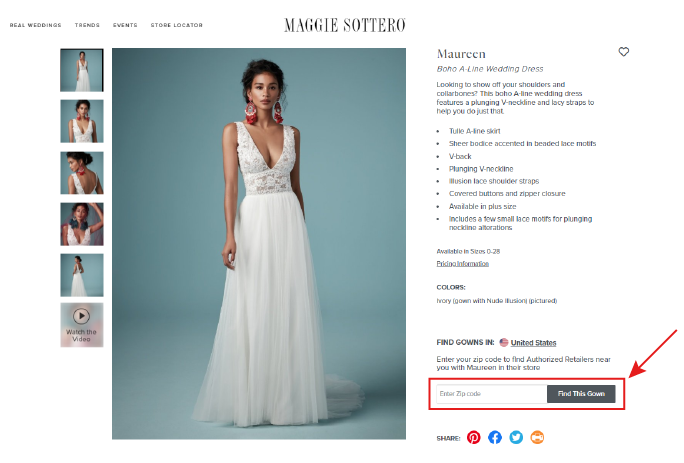 Screen Shot of Maggie Sottero Wedding Dress with Arrow on the Screen Pointing to Button