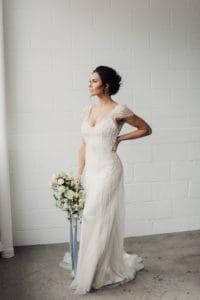 Bride Wearing Vintage Wedding Dress Called Ettia by Maggie Sottero