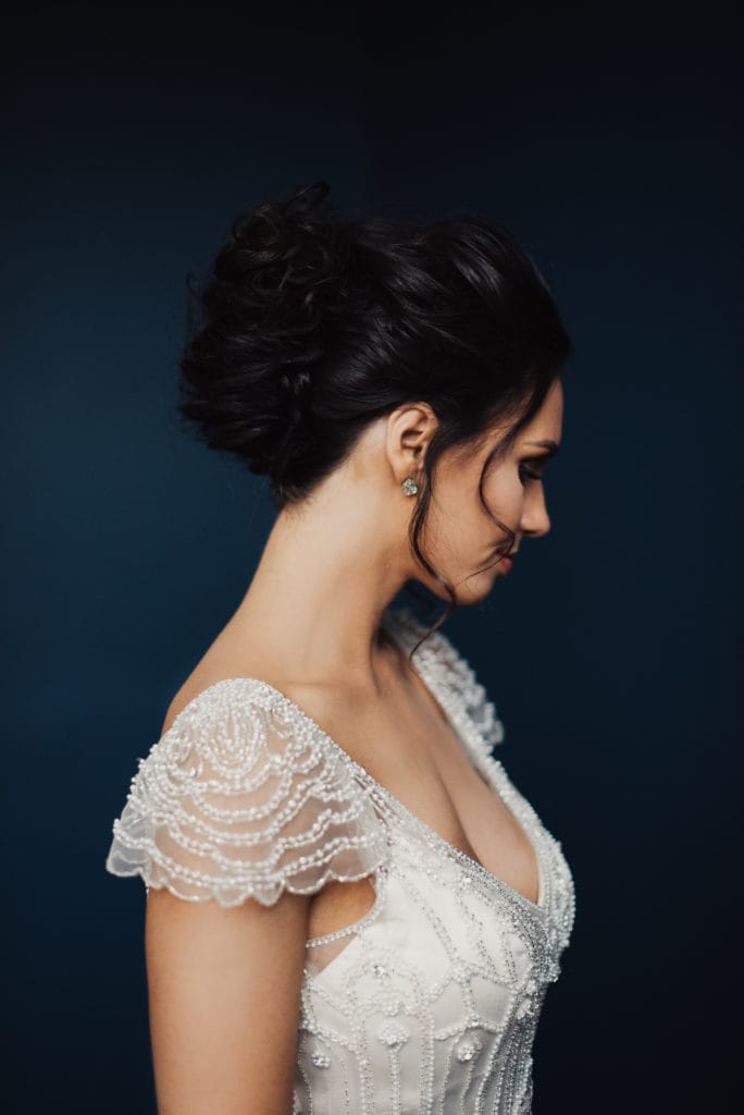 Bride Wearing Vintage Wedding Dress Called Ettia by Maggie Sottero