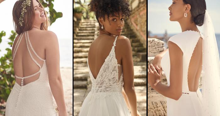 Three Brides Wearing Statement-Back Wedding Dresses by Maggie Sottero