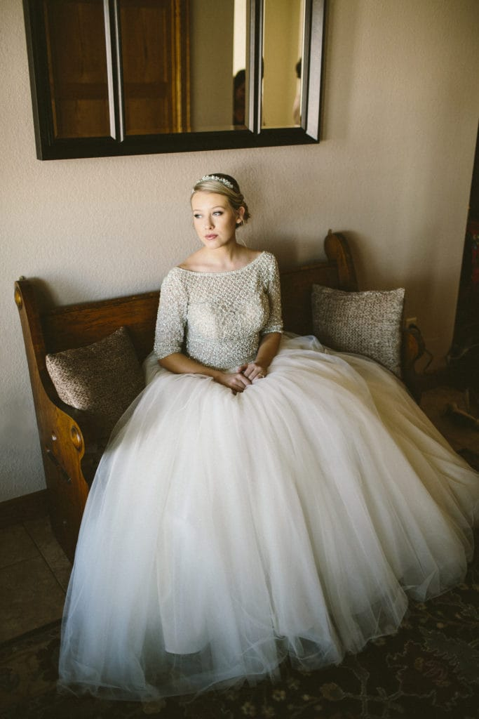 Real Bride Wearing Ball Gown Wedding Dress Called Allen by Sottero and Midgley