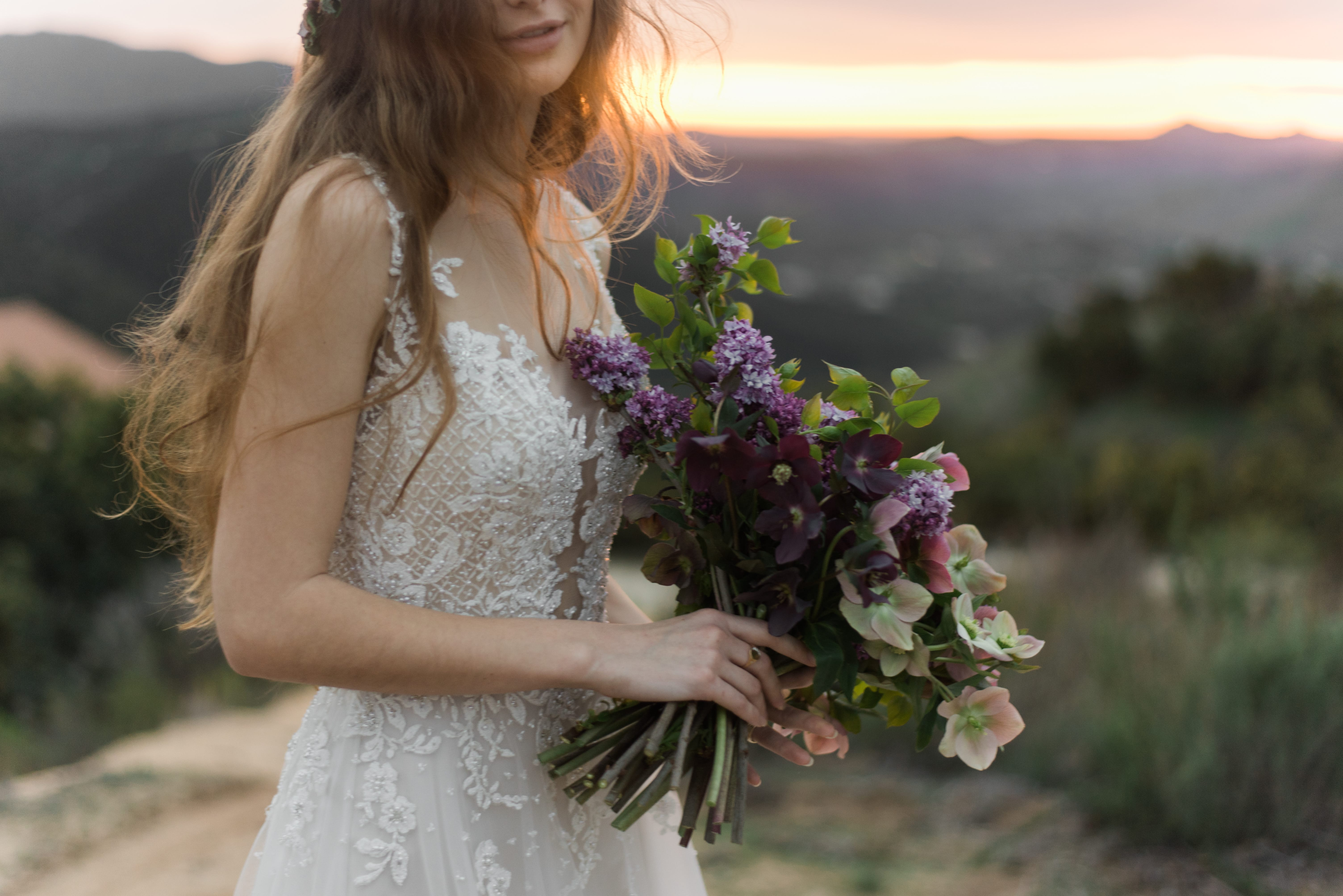 Your Wedding Day Horoscope Inspired by Pantone's Color of the Year, Ultra Violet - Emily by Maggie Sottero featuring Ultra Violet Flowers