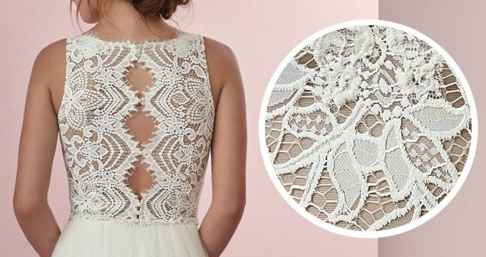 Alencon Type of Lace Wedding Dress Connie by Rebecca Ingram