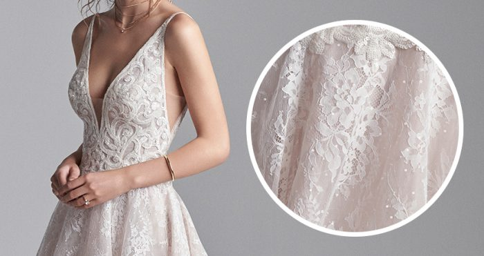 Close up of Livingston Wedding Dress Lace by Sottero and Midgley