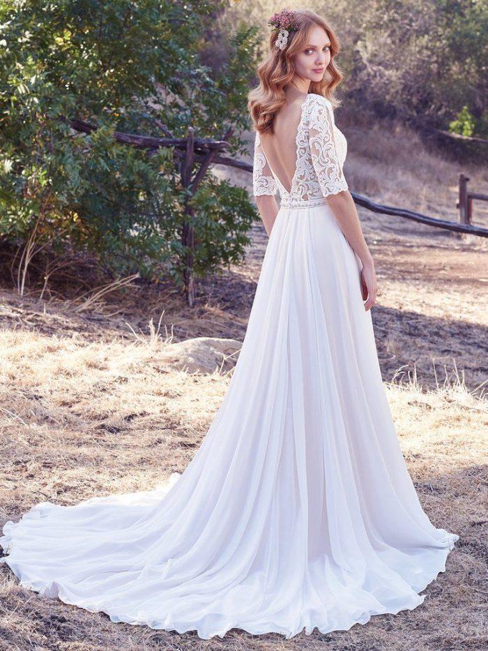 Darcy lace v-back sheath wedding dress