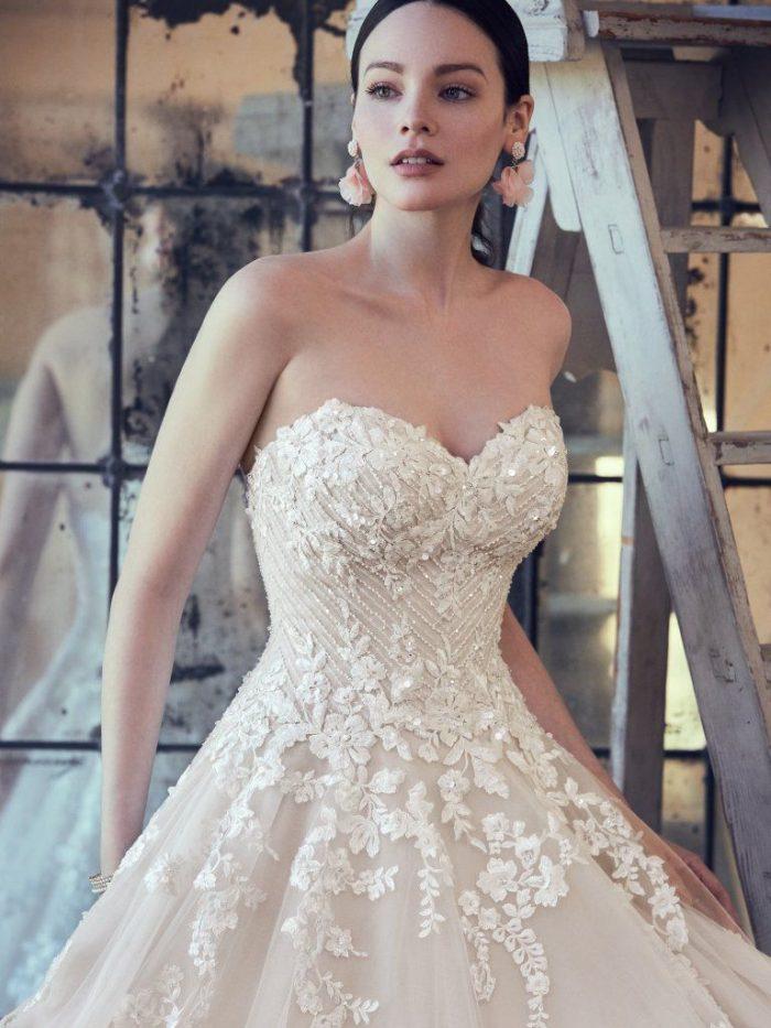 Zinaida lace beaded ballgown