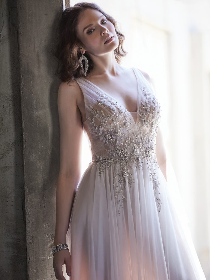 Model Wearing Sparkly A-line Wedding Gown Called Meletta by Maggie Sottero