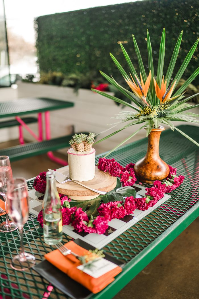 A photo of a tropical style cake at a tropical wedding.