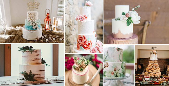 A photo of a variety of themed wedding cakes that will match your bridal and wedding style.