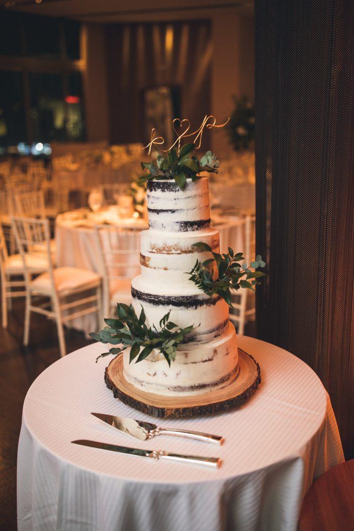 Rustic Naked Wedding Cake with Greenery