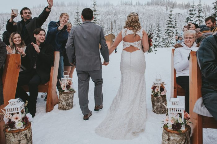 Winter outdoor wedding with bride wearing Hope by Rebecca Ingram
