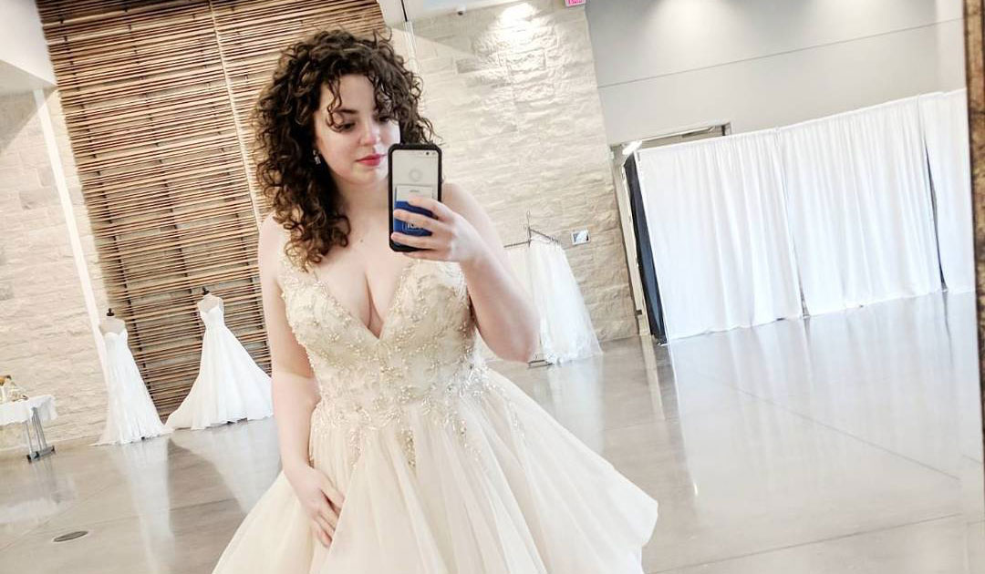 Influencer Wearing Amelie Wedding Dress by Sottero and Midgley