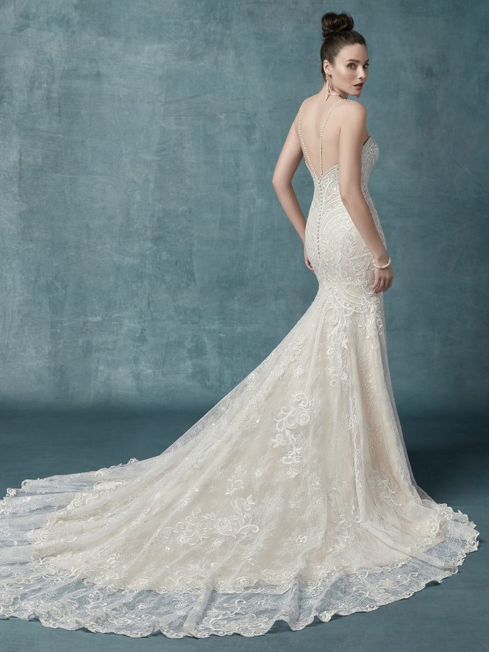 Whitney Wedding Dress Maggie Sottero | tulle fit-and-flare lace wedding dress