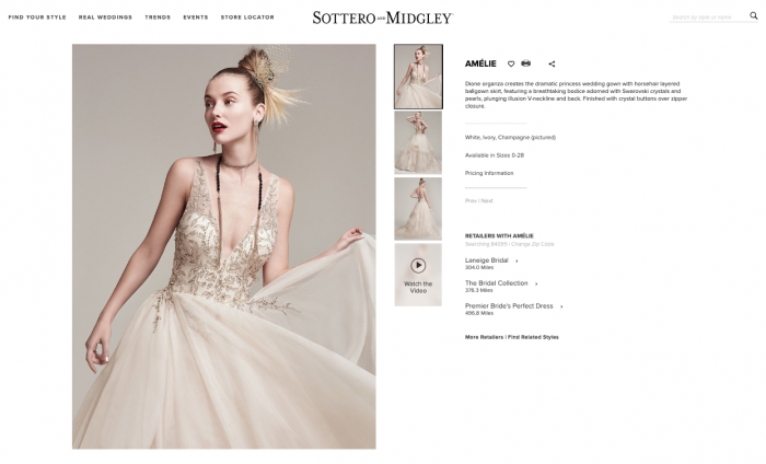 web page for Amelie by Sottero and Midgley