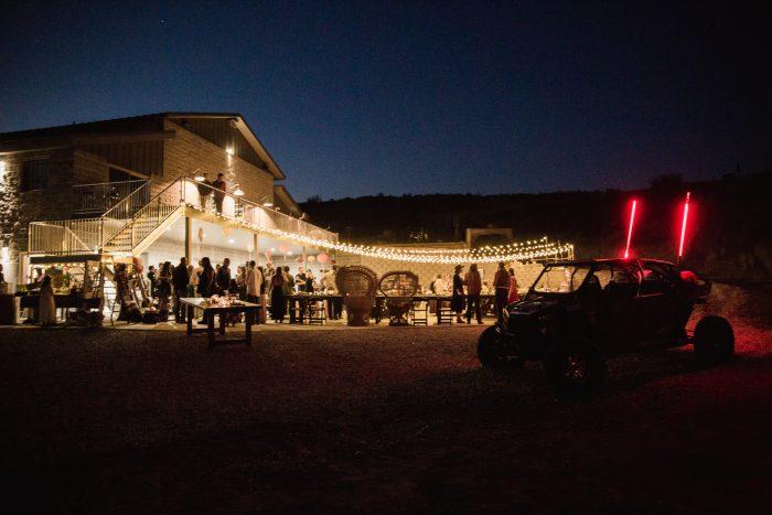 Outdoor lit up wedding