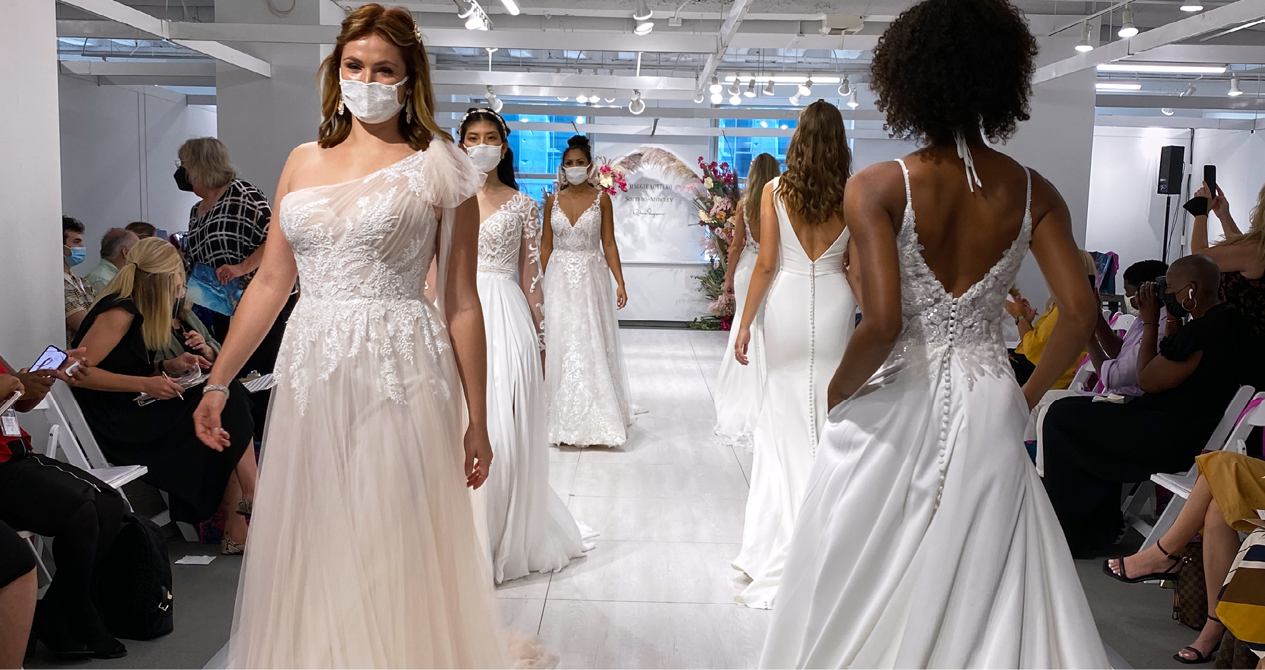 Models Walking on Runway at Chicago Bridal Market Showing Off Maggie Sottero's Hottest Runway Wedding Dresses for This Season