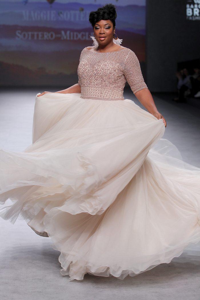 Allen Lynette beaded tulle ballgown