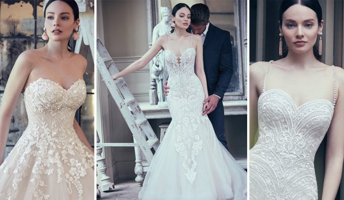 Blush Lace wedding dresses by Maggie Sottero