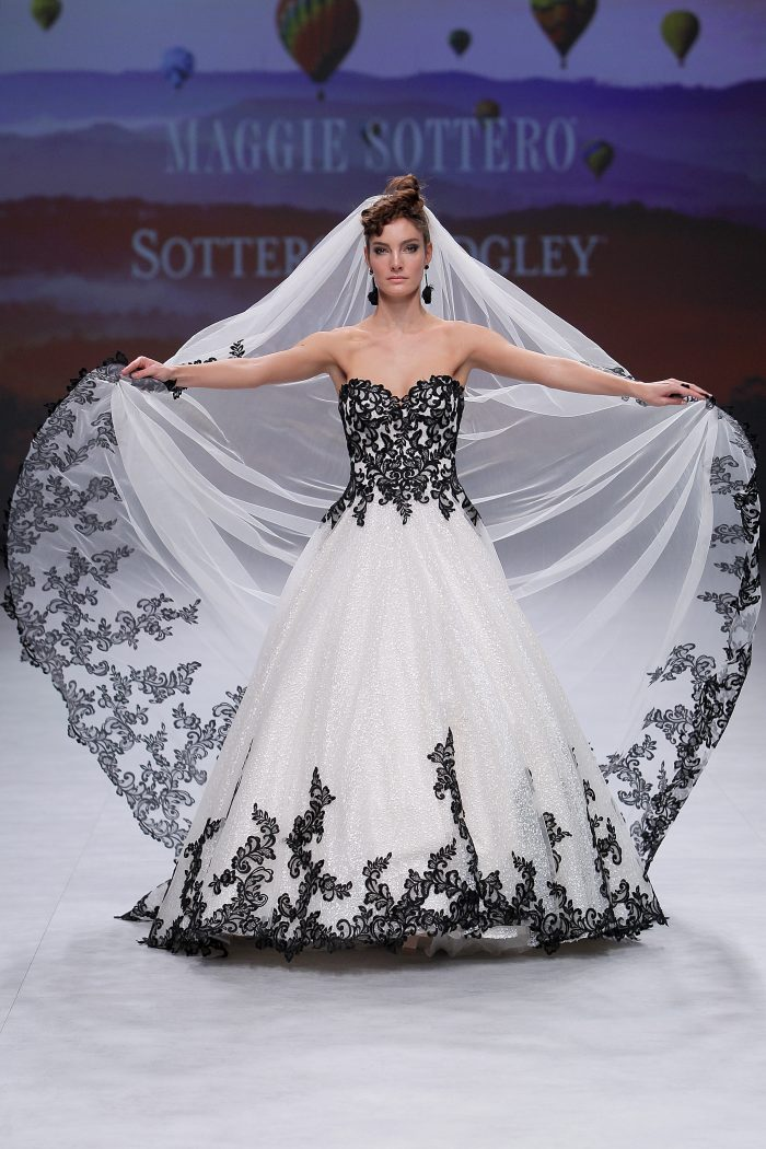 Tristyn Black Lace Ballgown Wedding Dress on the Runway