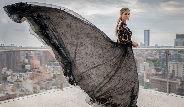Zander Black Lace Aline Wedding Dress on the Rooftops