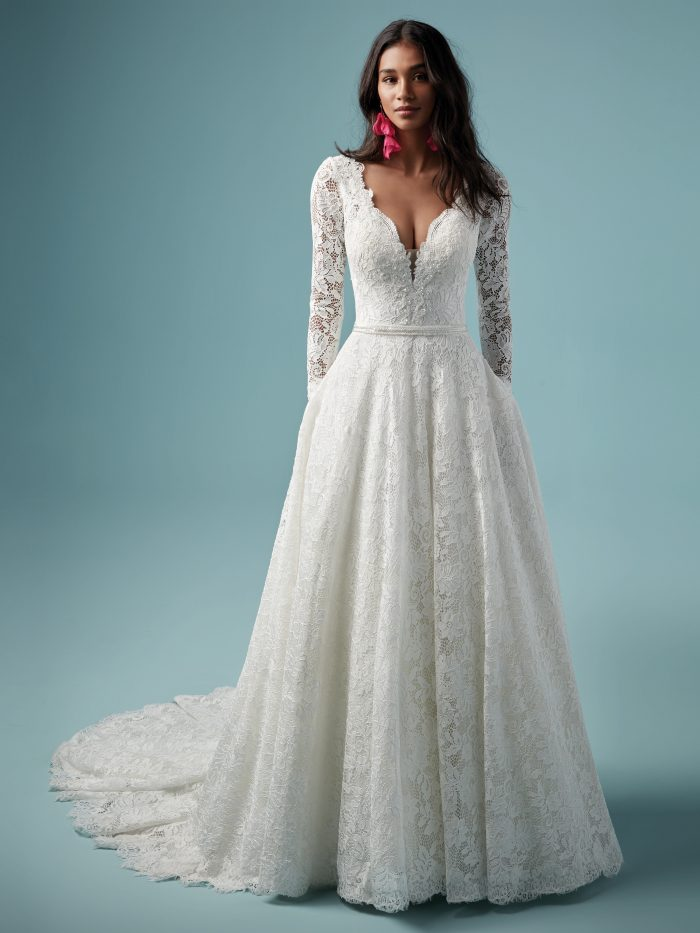 Maggie Sottero Terry Lace Long Sleeve Wedding Dress