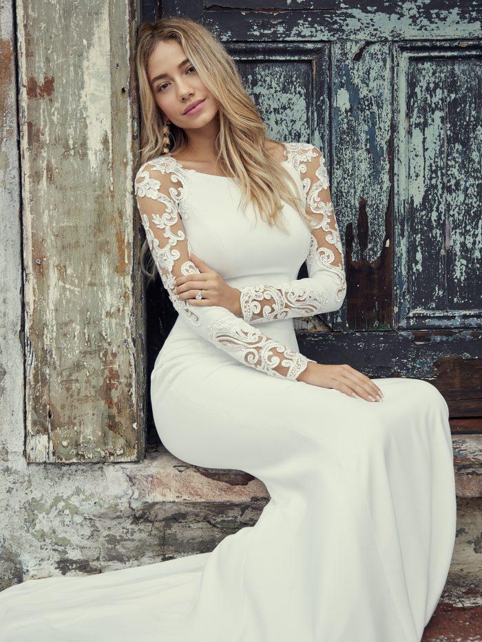 Rebecca Ingram Bethany Long Sleeve Simple Wedding Dress