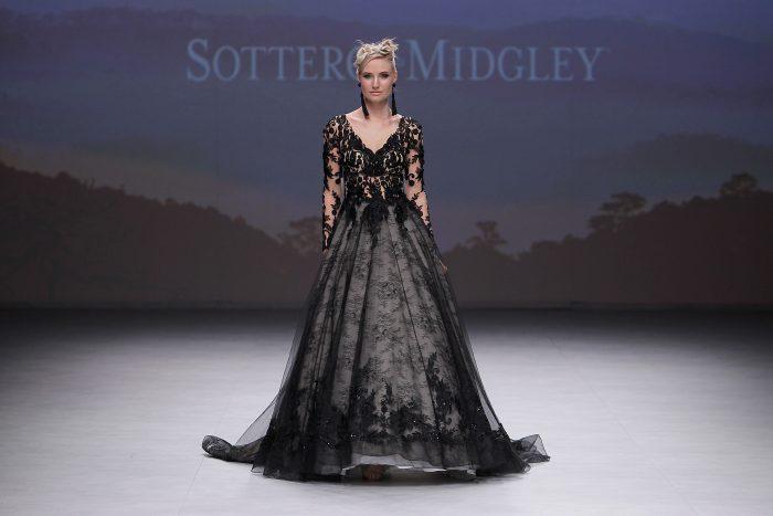 Sottero and Midgley Zander Black Lace Ballgown Wedding Dress