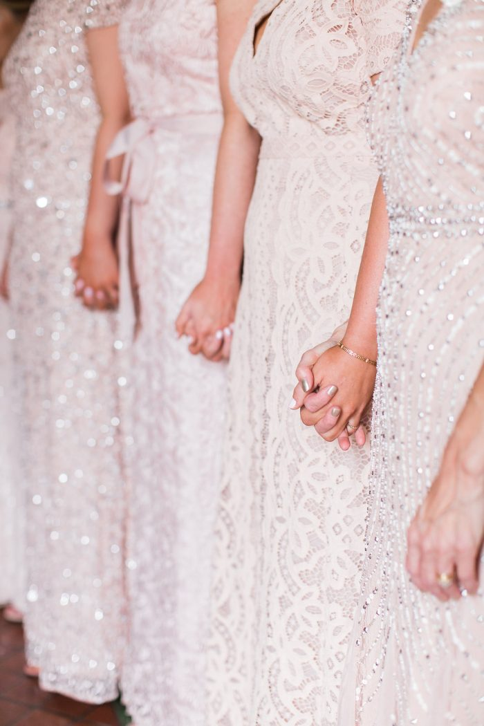 Blush lace and sparkly bridesmaid dresses