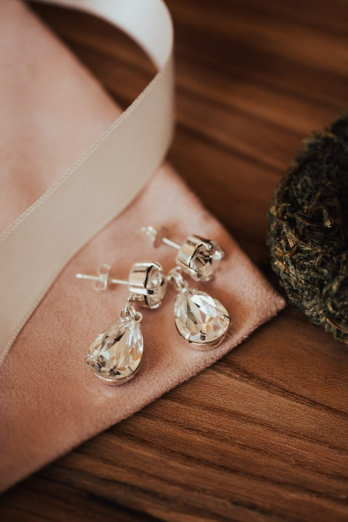 Diamond Earrings for a Rustic Woodland Wedding