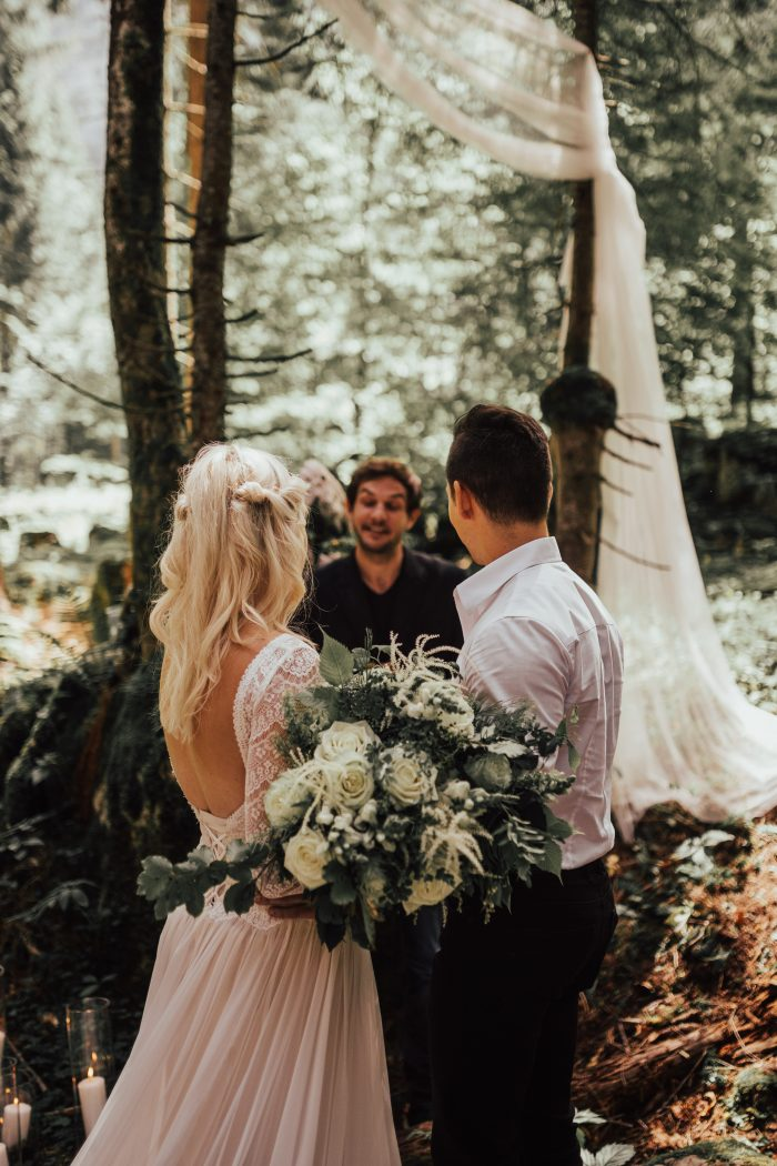 Rustic Woodland Destination Wedding Ceremony feat Deirdre Wedding Dress