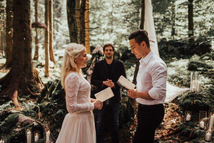 Rustic Woodland Destination Wedding Ceremony feat Deirdre Wedding Dress