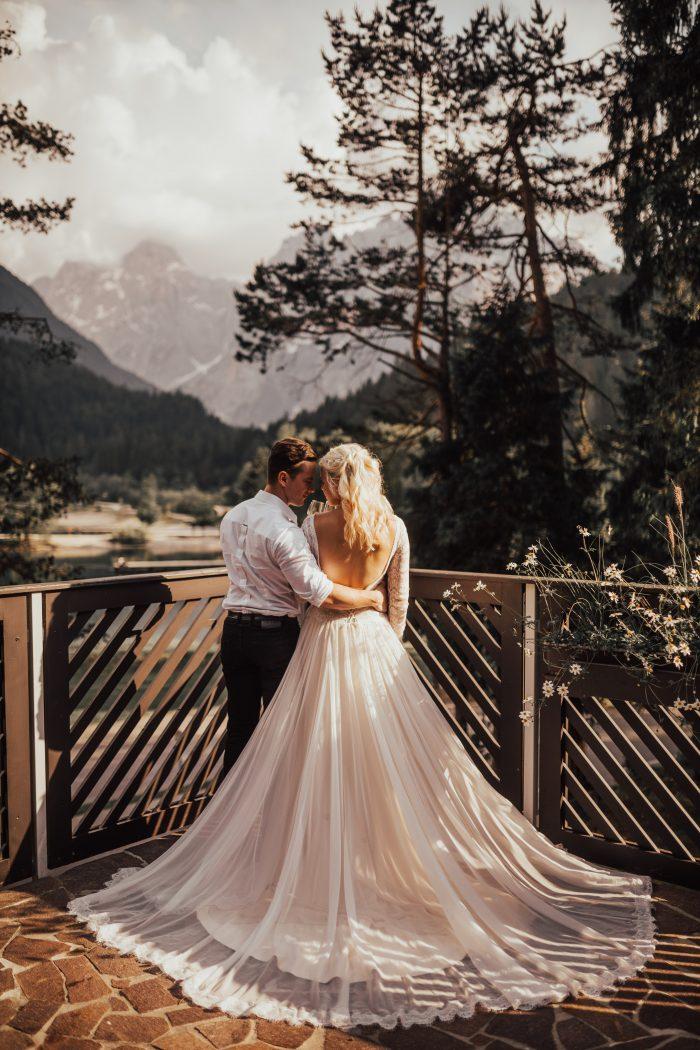 Rustic Woodland Destination Wedding Reception feat Deirdre Wedding Dress