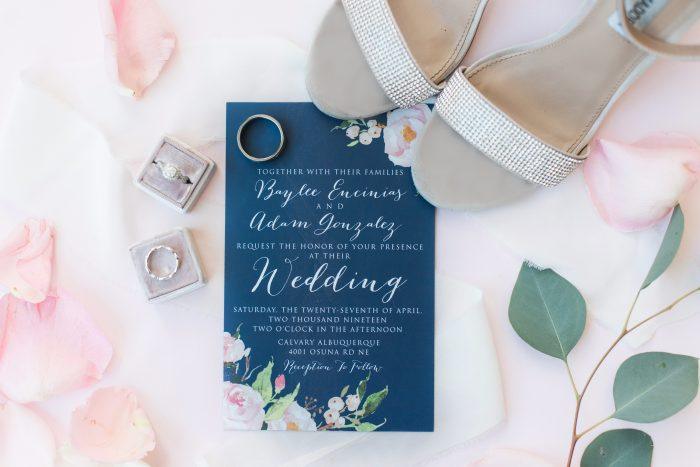Blush and blue wedding invitations and other wedding decor
