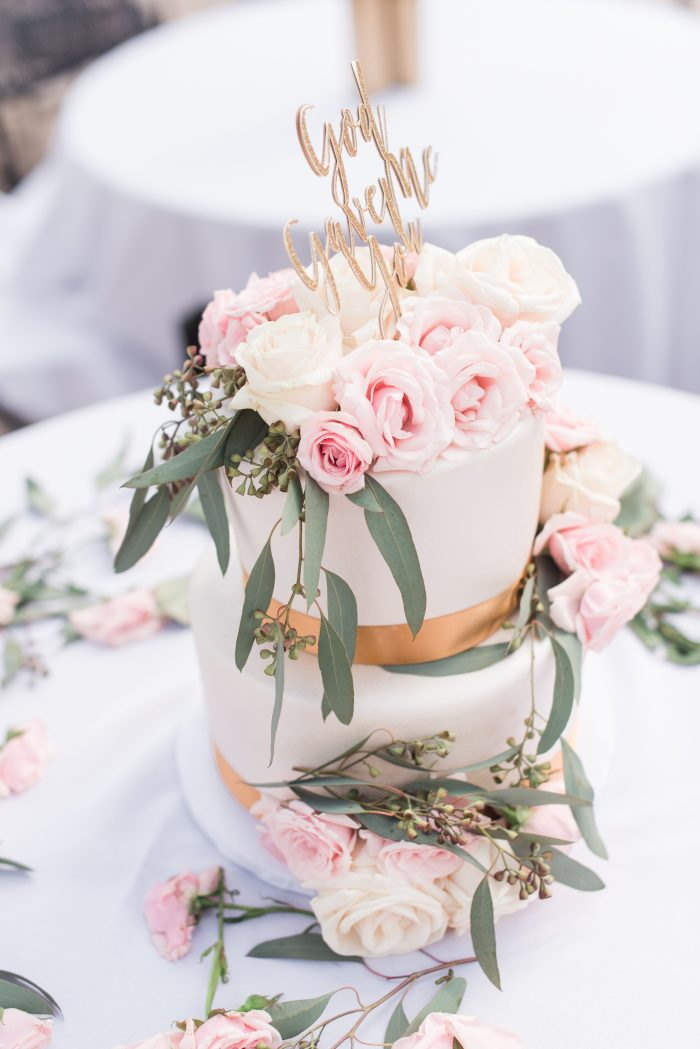 Blush floral and gold wedding cake