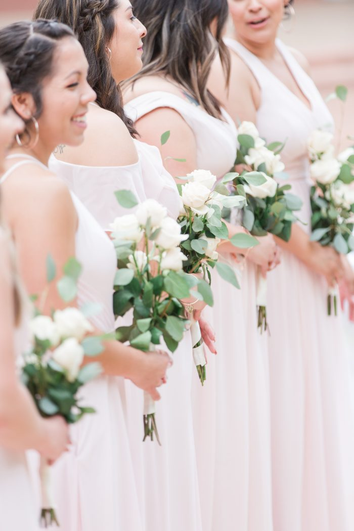 Simple sheath blush bridesmaids dresses