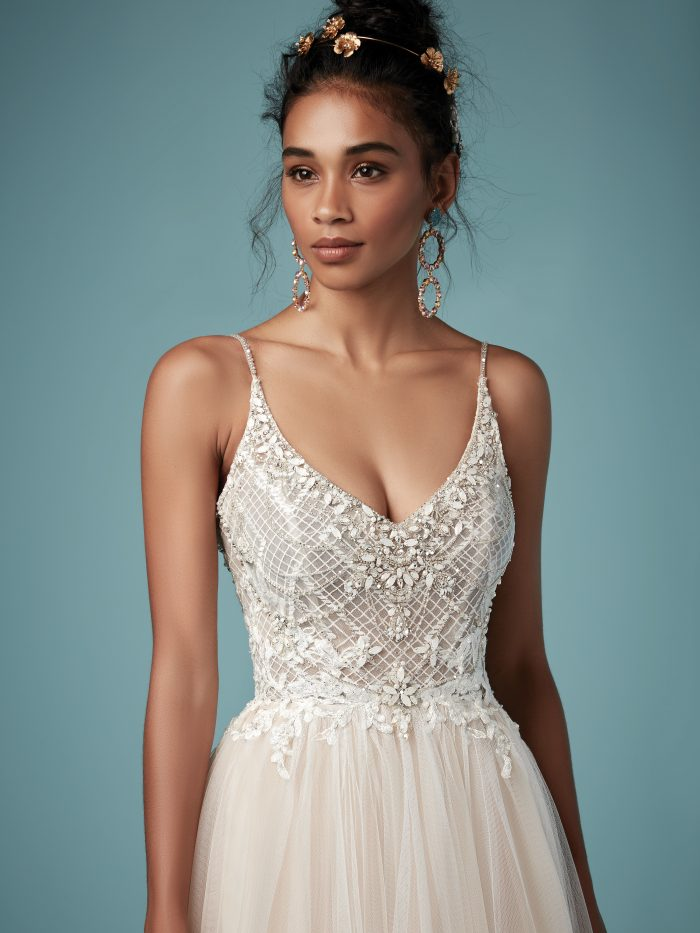 Matilda beaded sheath wedding dress by Maggie Sottero