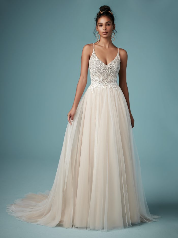 Matilda blush beaded sheath wedding dress by Maggie Sottero