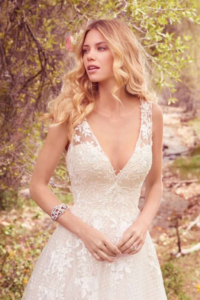 Meryl blush lace A-line wedding dress by Maggie Sottero