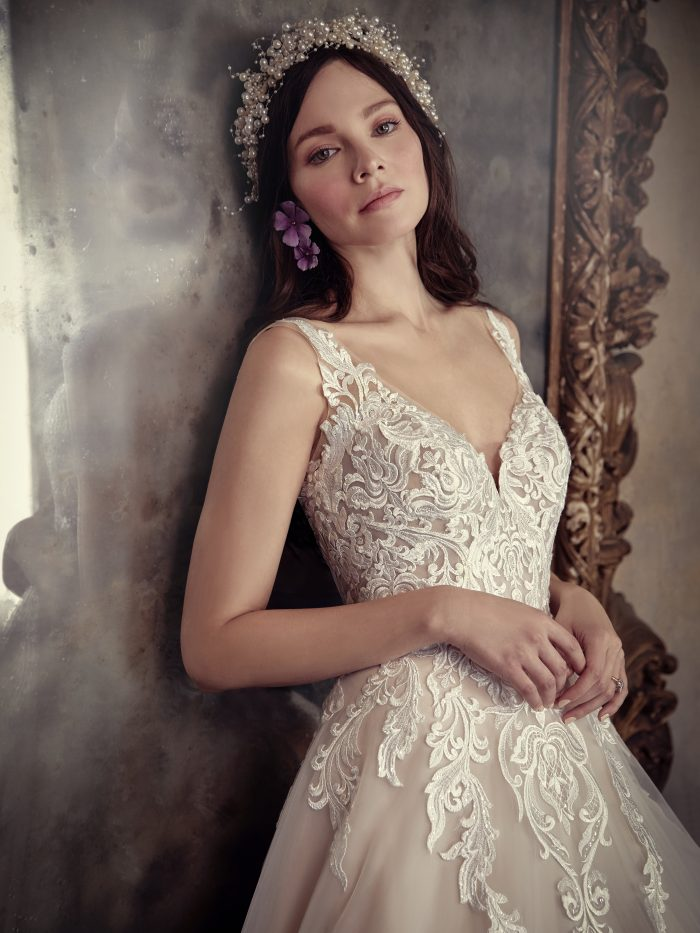 Trinity blush lace A-line wedding dress by Maggie Sottero