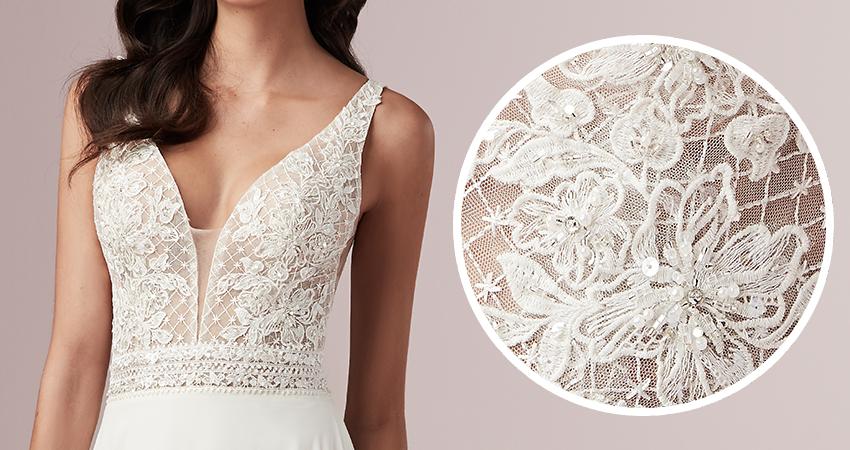 Mildred Lace Sheath Wedding Dress by Rebecca Ingram