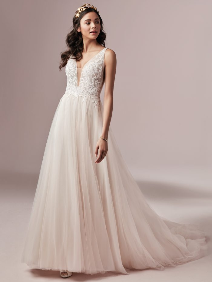 McKenna Blush Tulle Wedding Dress by Rebecca Ingram