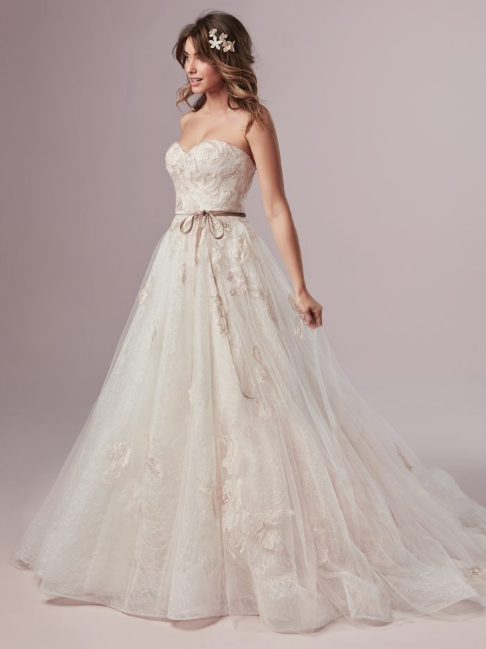 Summer Blush Lace Ballgown Wedding Dress by Rebecca Ingram