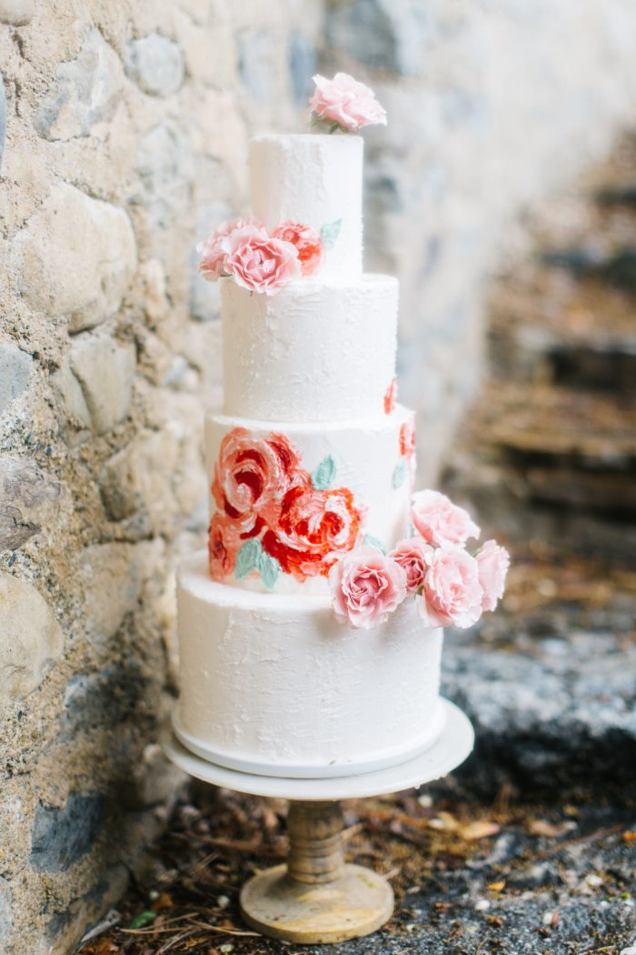 Blush floral wedding cake