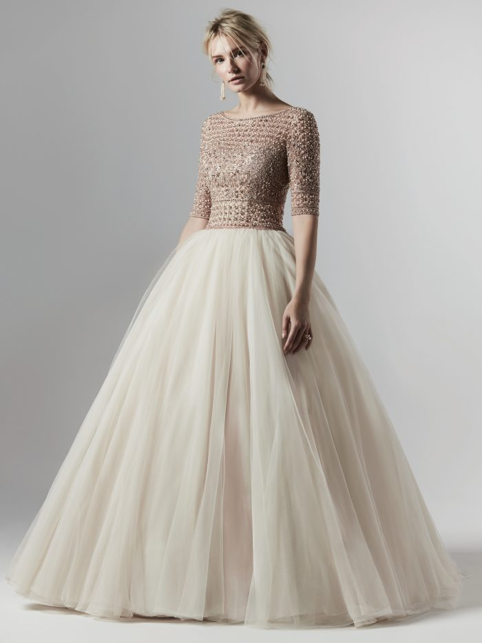 Allen Lynette Blush Tulle Ballgown Wedding Dress by Sottero and Midgley