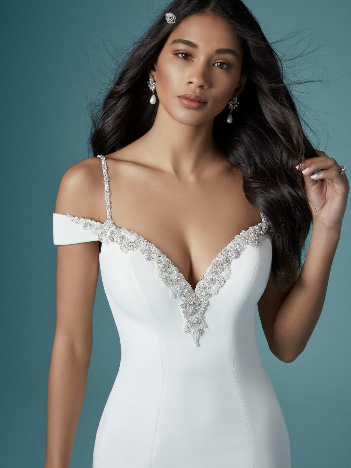 Eve Simple Beaded Wedding Dress by Maggie Sottero